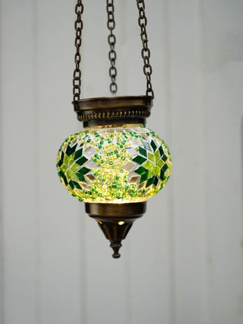 10cm Hanging Mosaic Candle Holder Green