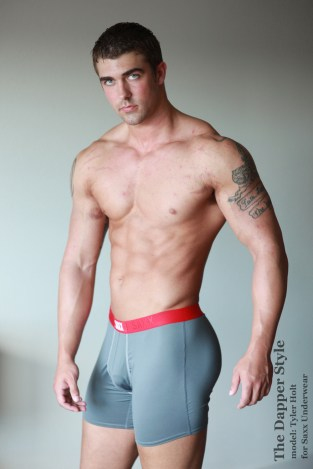 Tyler Holt in Saxx Underwear red