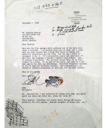 una lettera di saul bass a stanley kubrick con il timbro a forma di pesce di saul bass