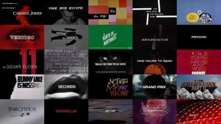 un collage delle grafiche dei titoli di apertura dei film curati da Saul Bass
