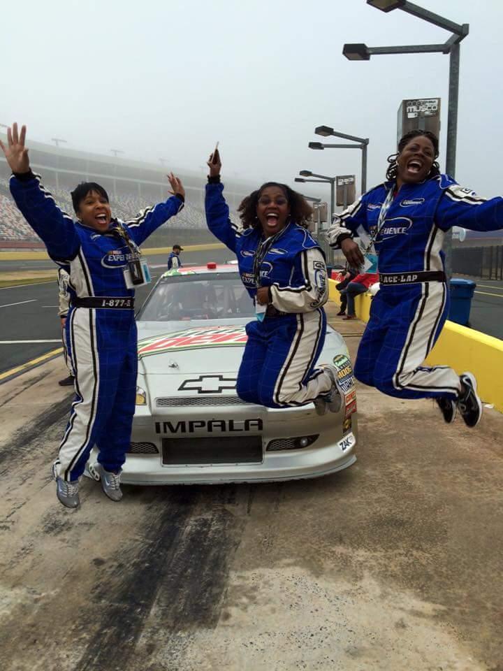 Angenette, Mia, Brenda NASCAR jump