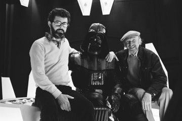 Star Wars Behind the Scenes: Producer George Lucas, David Prowse (Darth Vader), Director Irvin Kershner