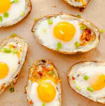 Breakfast Baked Potatoes on brown parchment paper