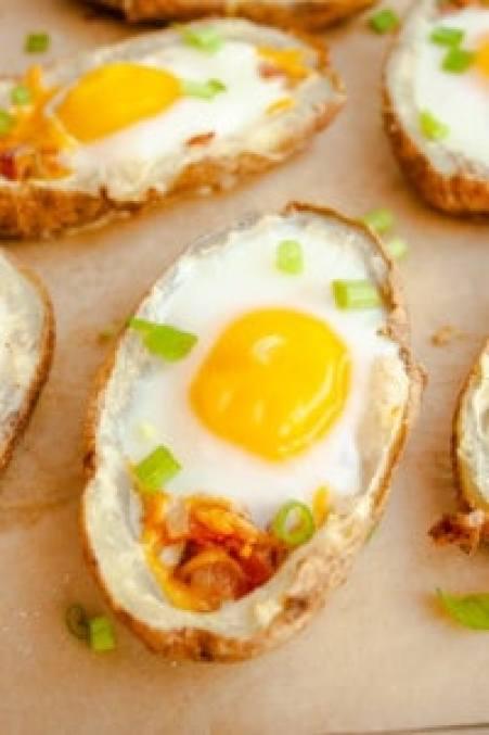 Close up of Breakfast Baked Potato