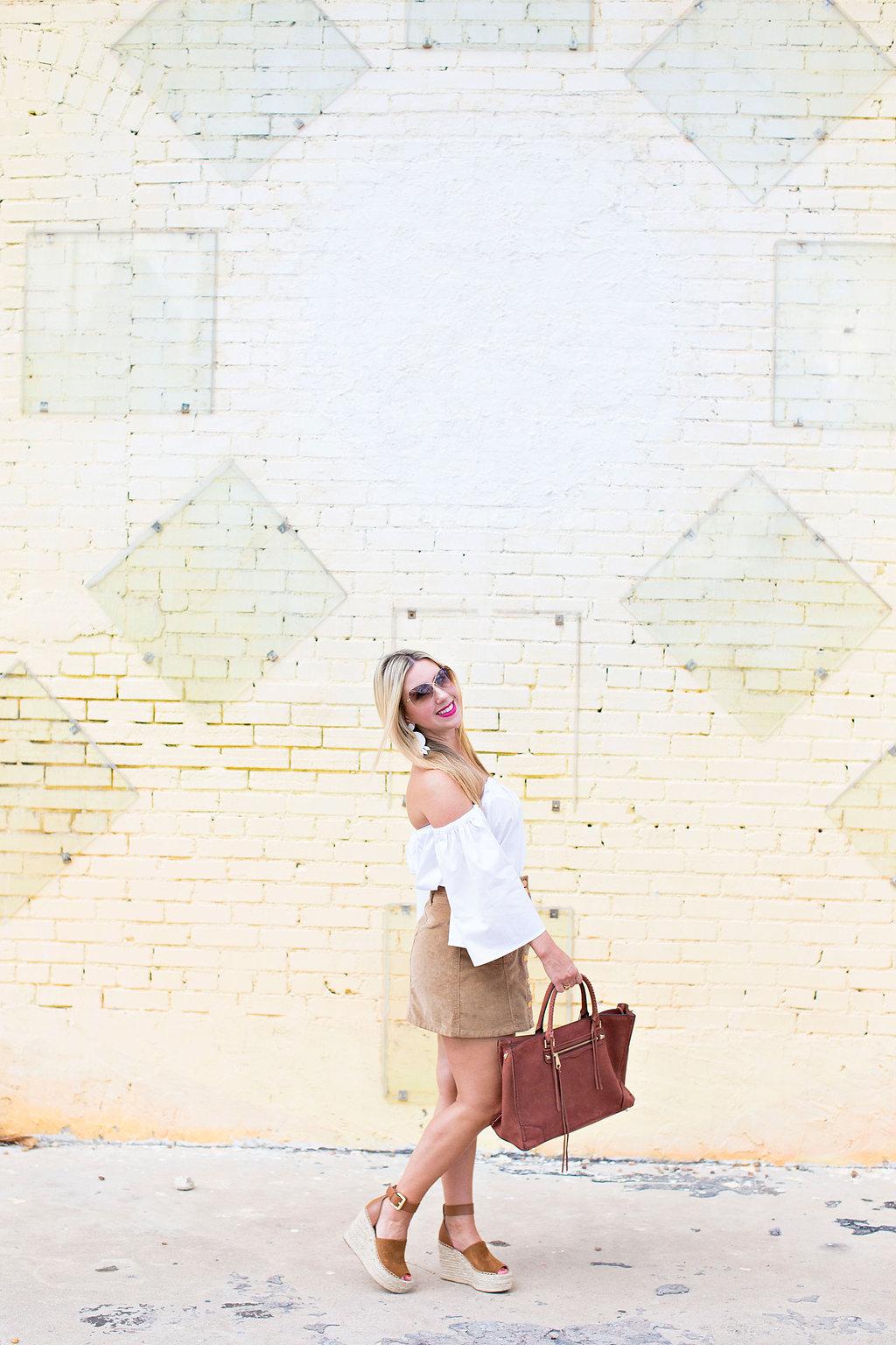 Off the shoulder top - Corduroy Skirt - Dallas