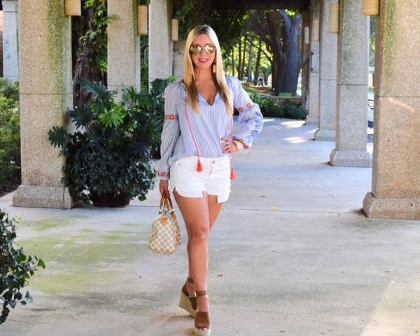 Stripe Top - White Cut Off Shorts - Summer Fashion- Dallas Blogger - Nicole Kirk