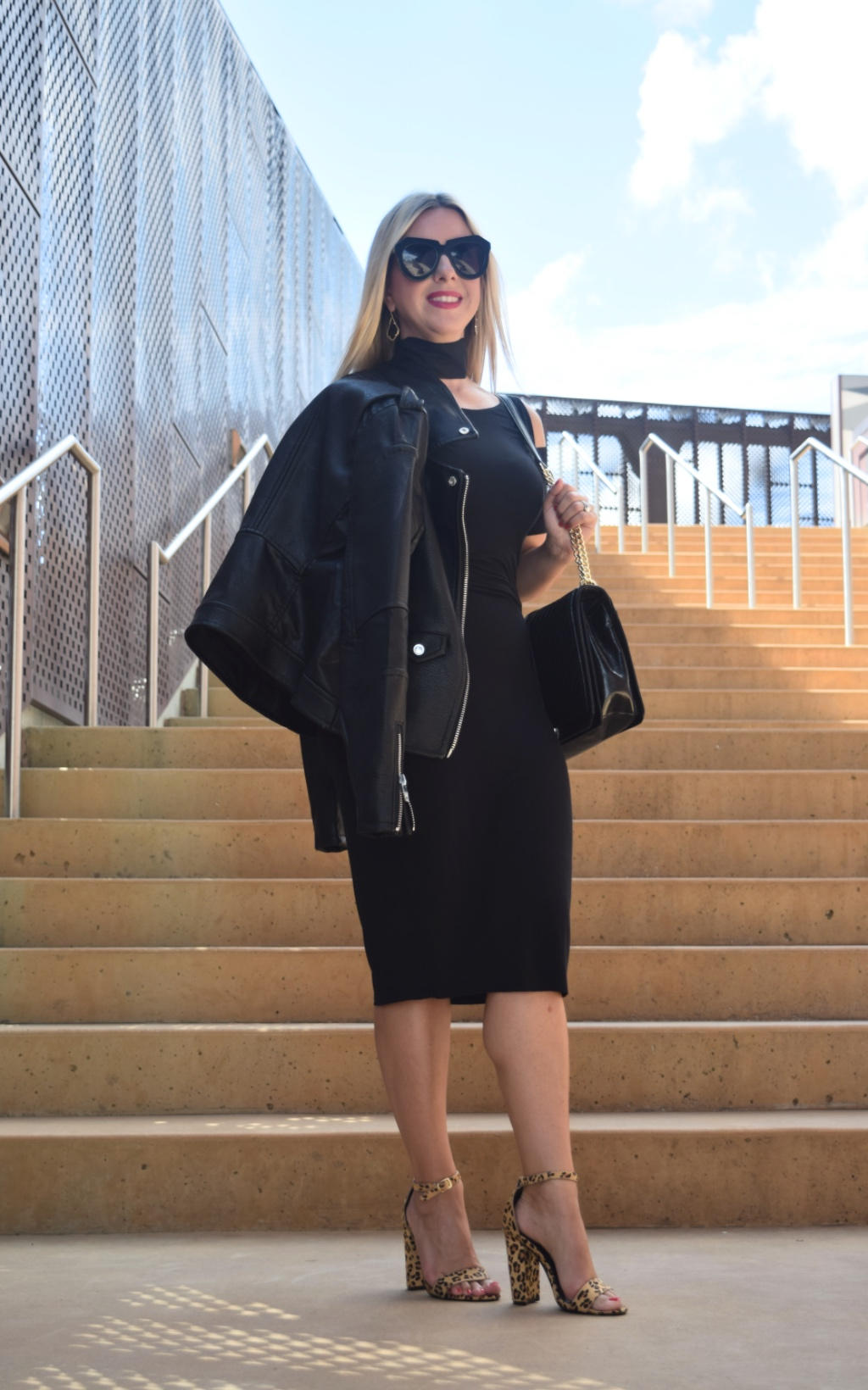 Leather Jacket   Black Dress