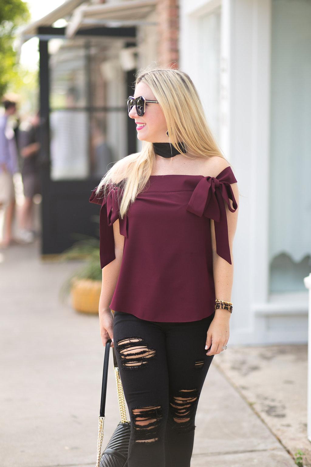 Off Shoulder Top| Burgundy