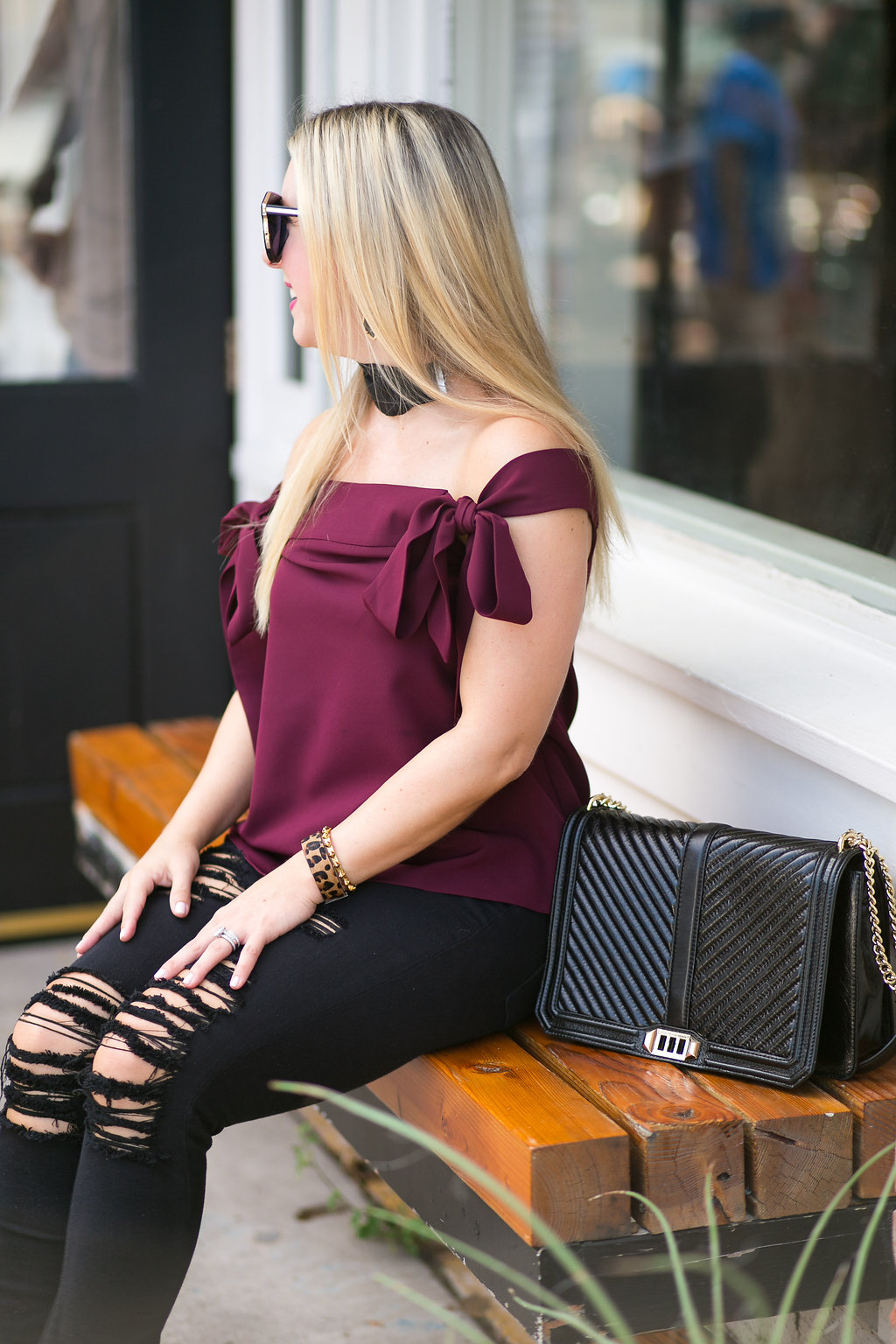 Off Shoulder Top | Dallas Blogger | Maroon
