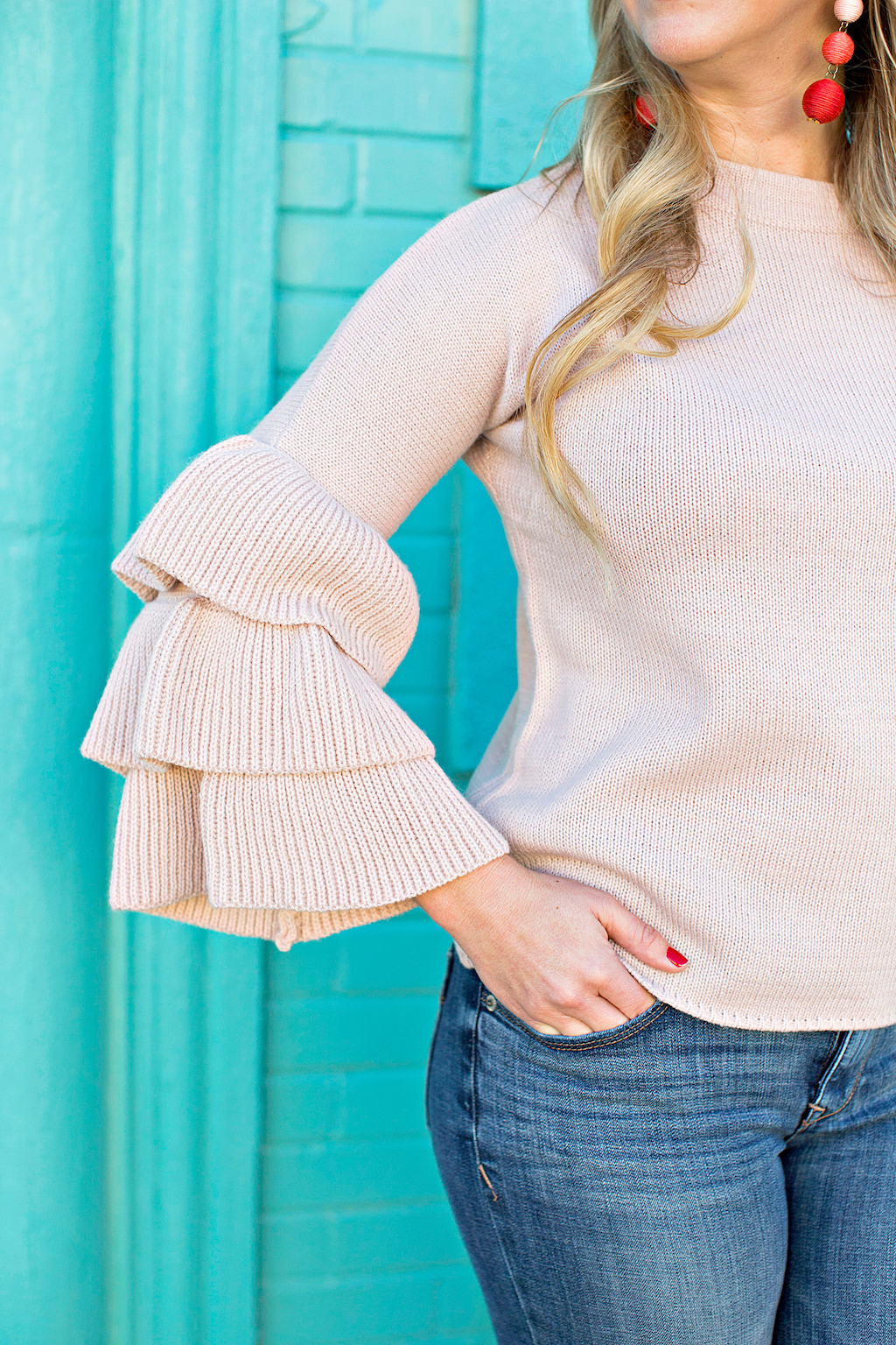 Pink Bell Sleeve Sweater | The Darling Petite Diva | Nicole Kirk v