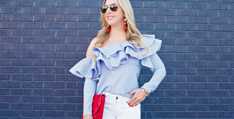 One-shoulder Ruffle Striped Top | Nicole Kirk | The Darling Petite Diva