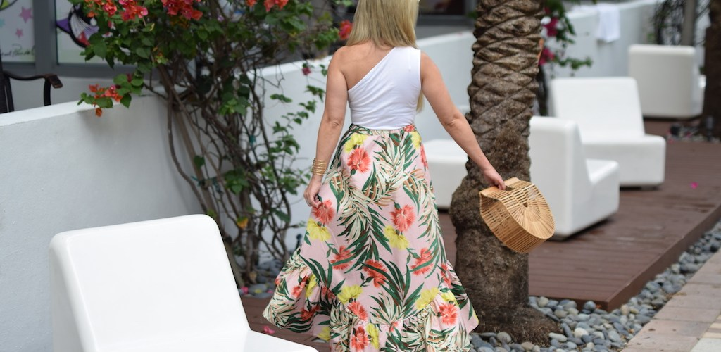 Palm Print Midi Skirt with Ruffle