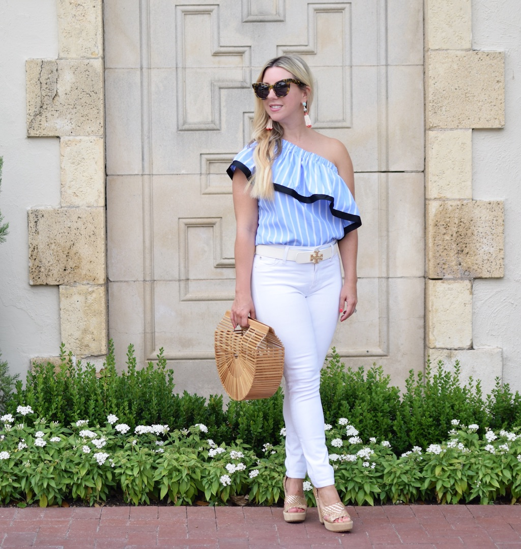 Blue & White Striped One Shoulder Ruffle Top | The Darling Petite Diva Blog | Nicole Kirk