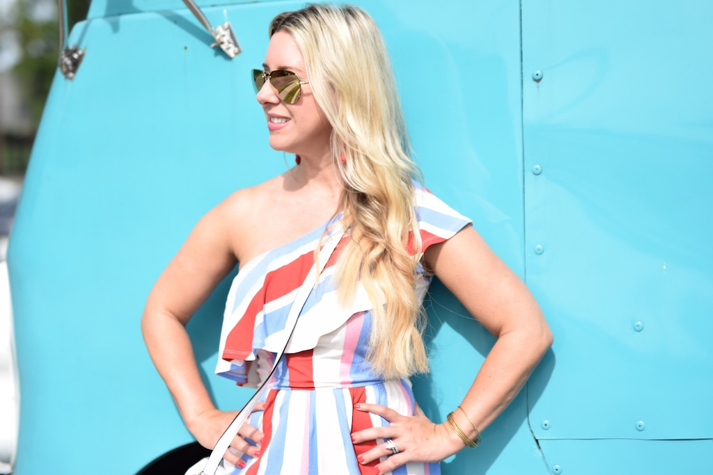 Bold Stripe Summer Romper, ASOS The Darling Petite Diva
