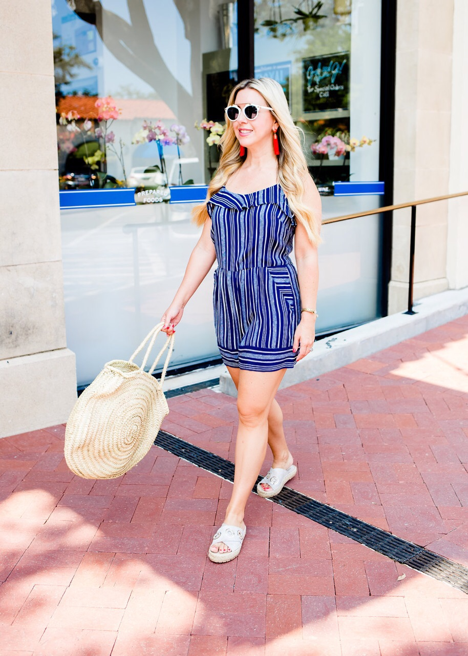 Stripe Ruffle Romper, Nicole Kirk, The Darling Petite Diva Blog