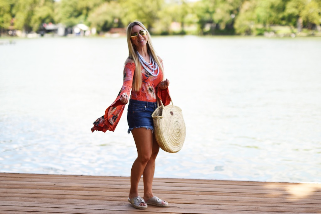 Off The Shoulder Floral Top + A Weekend  At The Lake | The Darling Petite Diva
