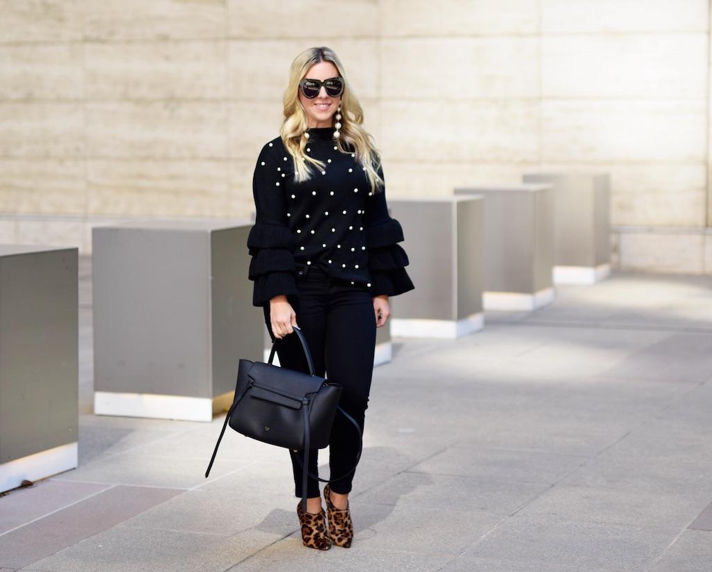 Pearl Embellished Tiered Sleeve Sweater   The Darling Petite Diva   Nicole Kirk