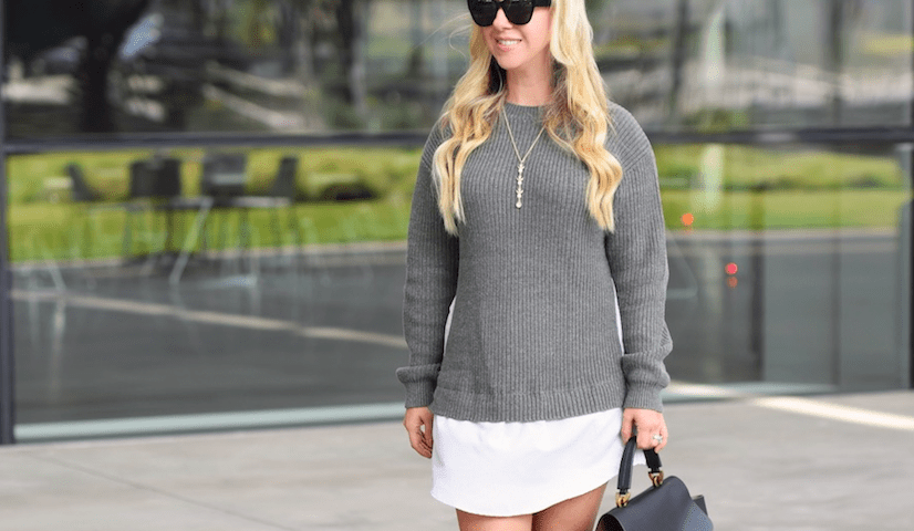 Faux Shirt Sweater Dress