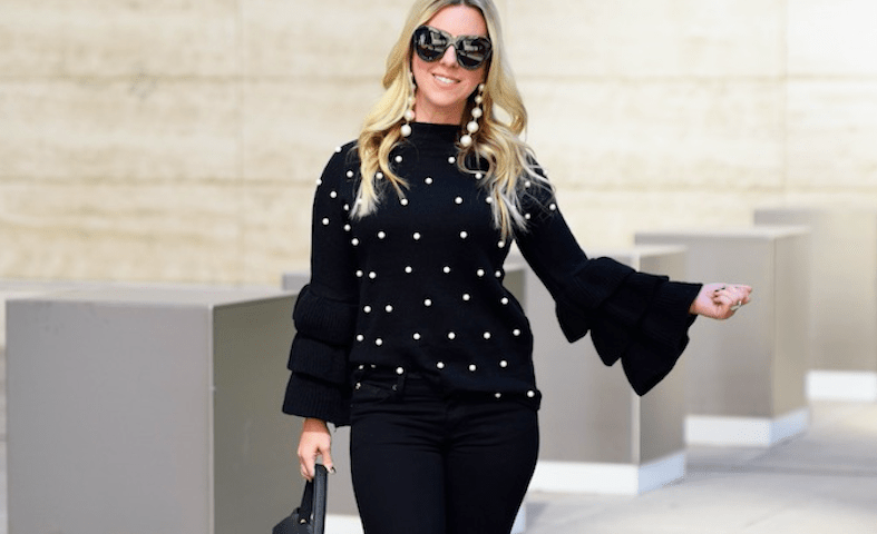 Pearl Embellished Tiered Sleeve Sweater 2