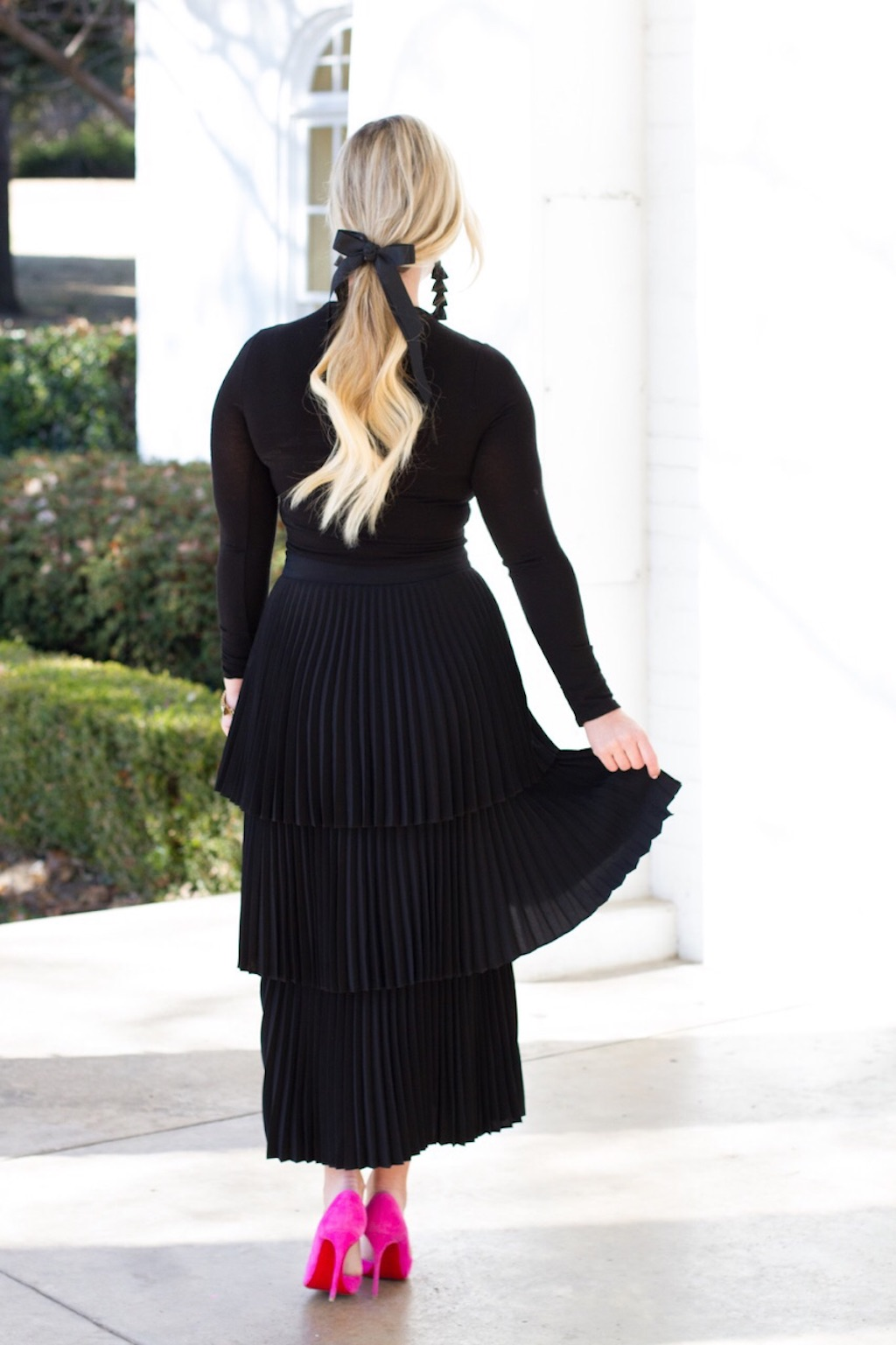 Black Tiered Pleated Skirt | The Darling Petite Diva | Nicole Kirk
