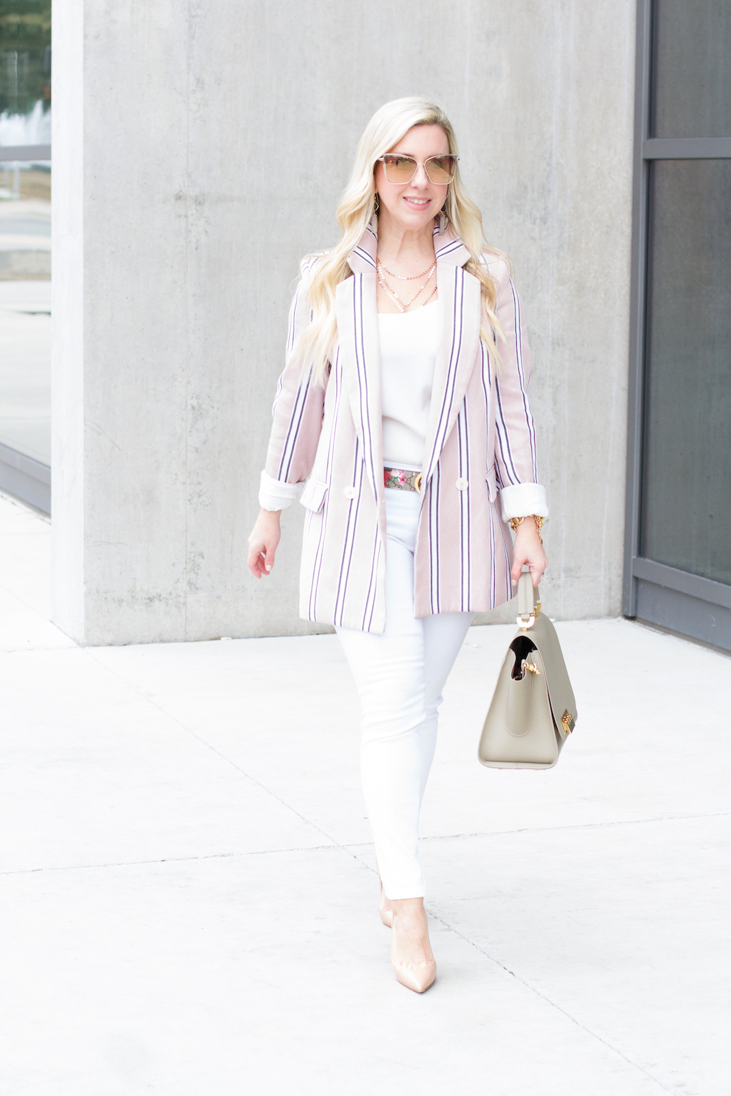 Pink Stripe Spring Blazer | The Darling Petite Diva