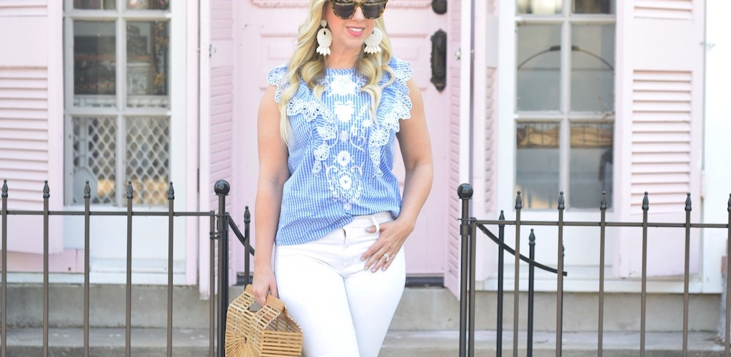 Gingham Print Eyelet Ruffled Top