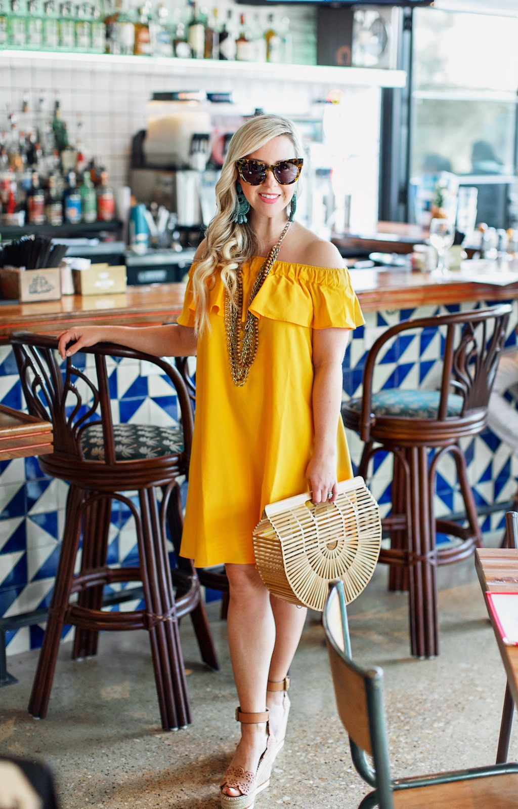 Off the Shoulder Crepe Dress