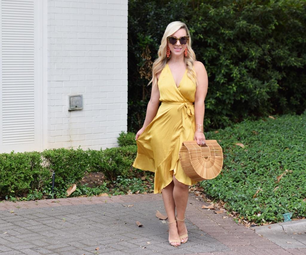 Ruffle Wrap Dress | Gold Wrap Dress