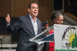 March 14, 2016 MARLENE QUARONI | FC Miami-Dade Commissioner Xavier Suarez addresses the issue of affordable housing. Members of PACT rally for affordable housing and juvenile justice reforms at their Nehemiah Assembly.