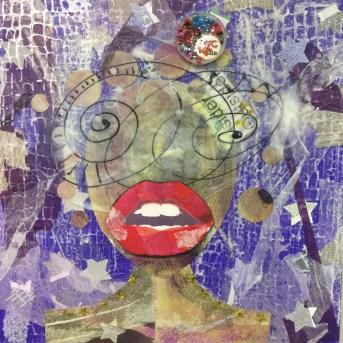 "I define my own identity and relish the opportunity to occupy the position of both insider and outsider rather than insider or outsider. This is one of the many masks I wear. Wine -o -Clock Theda Sandiford 20""x20""x1 Mixed Media Canvas Made with Handmade paper, recycled paper, tissue paper, newspaper, magazine cut out, acrylic skins, acrylic paint, glitter and recycled memory jewel. 2017"