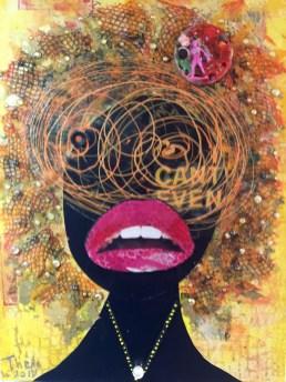 """I Can't Even"" 24"" x 18"" x 1"" in Medium: Acrylic paint, acrylic skin, plastic mesh, self leveling gel, tissue paper, cardboard, vinyl, glitter, gold leaf, beads, rhinestones, marbles, plastic army men on canvas board. October 2017"