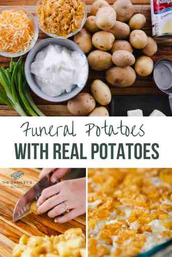 Pinterest image with 3 pictures, one of the ingredients for funeral potatoes, someone chopping potatoes and a pan of hot and ready to eat funeral potatoes.
