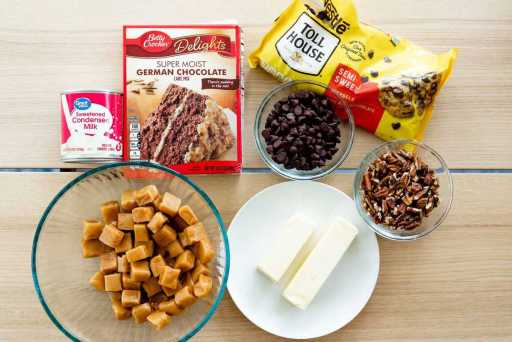 Ingredients for German Chocolate Caramel Brownies sits on a counter top.