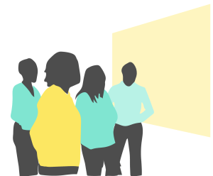 Illustration of people looking at a whiteboard.