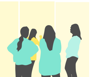 Illustration of people standing in front of whiteboards.