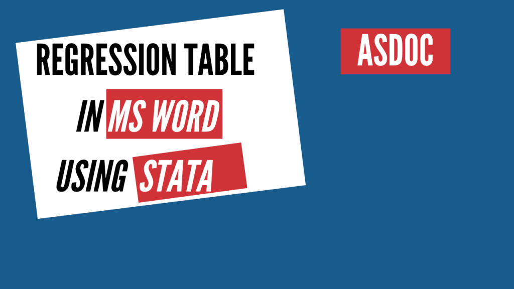 regression table using asdoc in stata