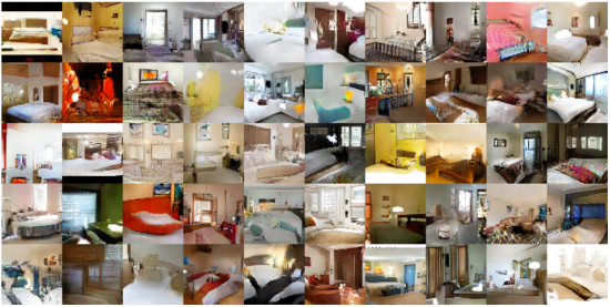 fake bedroom images produced by generative adversarial neural networks