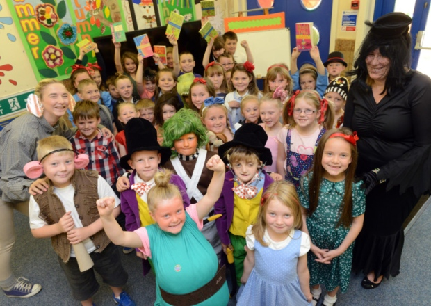 Pupils enjoy a day of dressing-up fun for Roald Dahl day