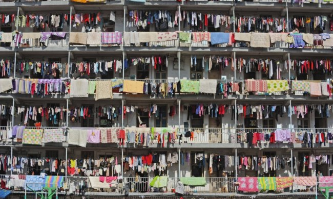 Now that's a Chinese laundry! Washing hung out on students' balconies creates ...