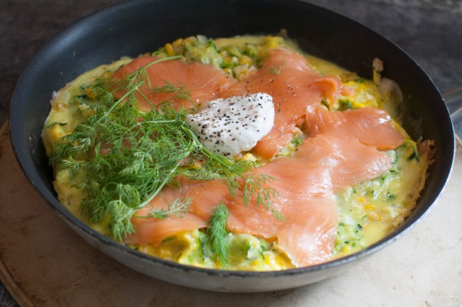 Corn adds sunny side to dinner omelet with smoked salmon