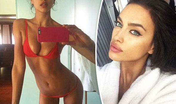 Red hot! Irina Shayk sizzles in sexy scarlet bikini a day after celebrating ...