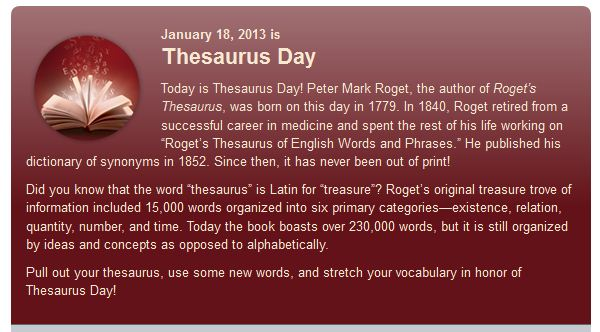 Happy Thesaurus Day - Word Fun & Games for Adults and Kids