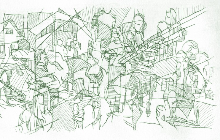 """By: Lisa Selvia Johnson Title: """"Praxis (Detail)"""" Medium : Drypoint on Plexi Edition: A/P Size: 19"""" x 4"""""""