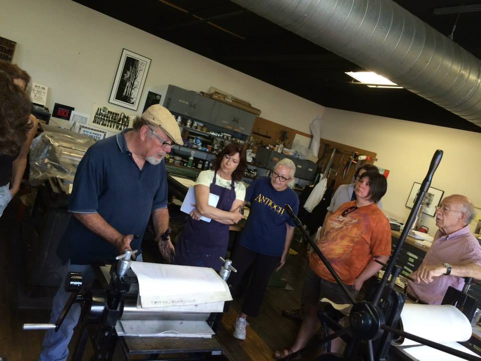 Participants learning and printing during the Dayton Printmaker Co-operative's Summer workshop. July 25-26, 2015