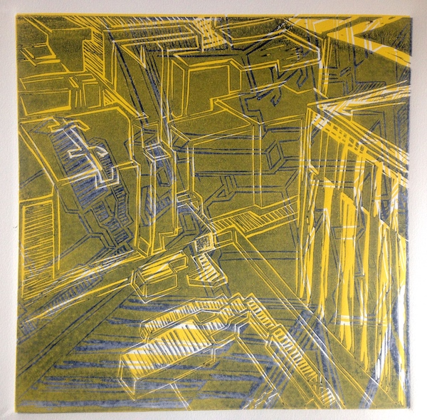 "Title: Downtown Yellow  By: Gretchen Durst Jacobs Medium: lino cut Size: 12""x12"""