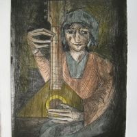 Title: Balalaika Player By: Doug Fiely Size: 6 x 8 in. Medium: Hand Colored Etching