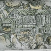 Title: Hay Barn Morning By: Doug Fiely Size: 12 x 16 in. Medium: hand colored etching and aquatint