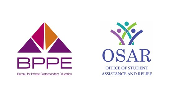 Logos for the Bureau for Private Postsecondary Education and the Office of Student Assistance and Relief