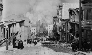 A view of the 1906 San Francisco earthquake fires