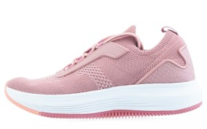 A pink sneaker rests on a white background.